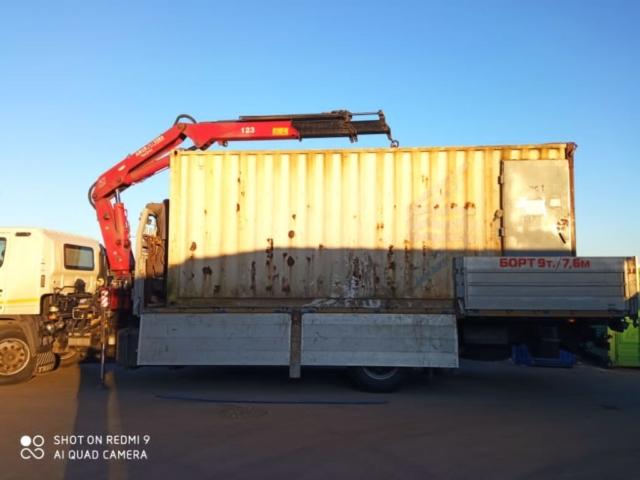 аренда манипулятора для перевозки и погрузки шестиметрового контейнера