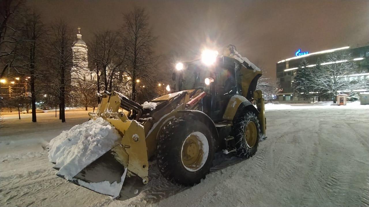 экскаватор погрузчик уборка снега